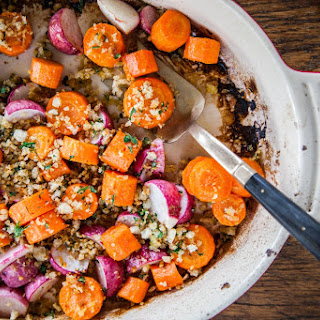Roasted Carrots & Turnips with Crunchy Carrot Top Gremolata Breadcrumbs