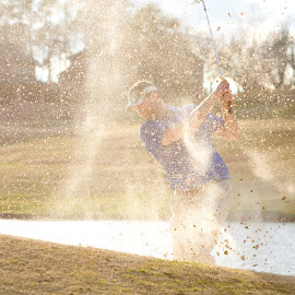 Out of the trap by Rodney Martin - Sports & Fitness Golf ( sand, bunker, sunset, sports, golf )