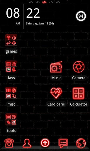 Neon Red GO Launcher Theme