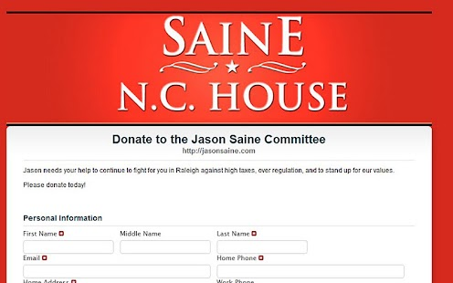 Jason Saine for NC House - screenshot