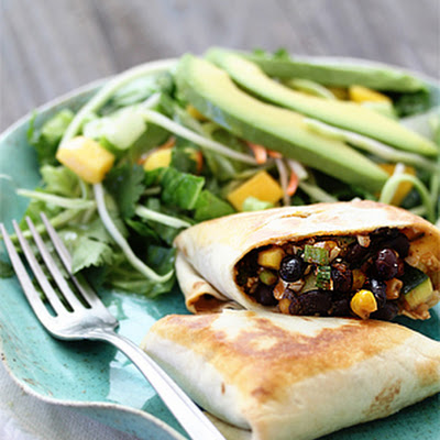 Vegetarian Black-Bean Stuffed Burritos