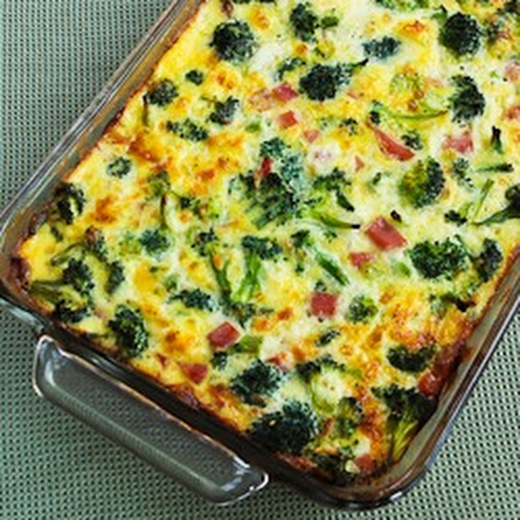 Broccoli, Mushrooms, Ham, And Cheddar Baked With Eggs Recipes ...