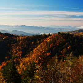 Newfound Gap Overlook by Chuck Hagan - Landscapes Mountains & Hills ( mountains, gatlinburg, smokies, fall color )