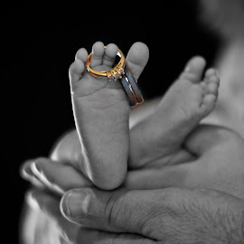 first comes love by Christina Smith - Babies & Children Hands & Feet ( infant photography, infant portrait, tiny toes, rings, wedding bands, jewelry, object, artistic )