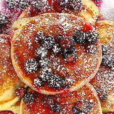 Buttermilk and Lemon Scented Pancakes with Warm Blueberry Syrup