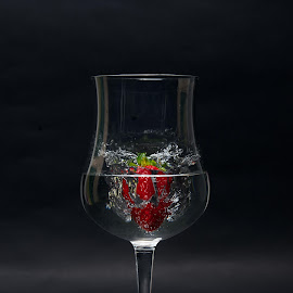 the Power of a Strawberry by Mattia Rizzi - Food & Drink Fruits & Vegetables ( water, fruit, hit, smash, strawberry )