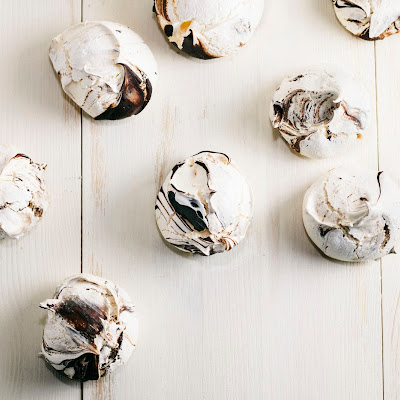 Orange Blossom Meringues with a Dark Chocolate Swirl