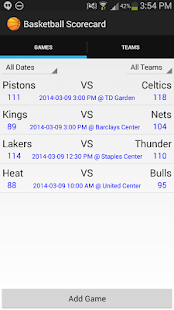 Basketball Stats Scorecard - screenshot