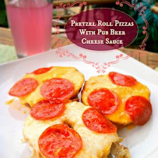 Pretzel Roll Pizzas with Pub Beer Cheese Sauce