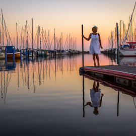 Present by Julija Moroza Broberg - People Street & Candids ( tiny, weaher, person, reflection, harbor, waterscape, harbour, yacht, white dress, jetty, girl, sailing, serenity, woman, pier, evening, alone, water, boats, sea, quiet, seascape, sailboats, season, sunset, summer, local, town )