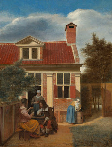 RIJKS: Pieter de Hooch: Figures in a Courtyard behind a House 1665