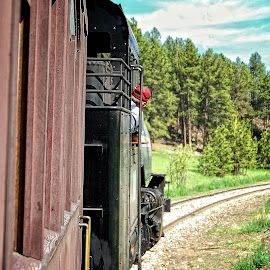 1800 Train Steaming Along by Jonathan Abrams - Transportation Trains ( engine, locomotive, railroad, train, tracks, steam )
