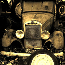 Abandoned car by Florence Guichard - Transportation Automobiles ( car, sepia, old, france, decay, abandoned )