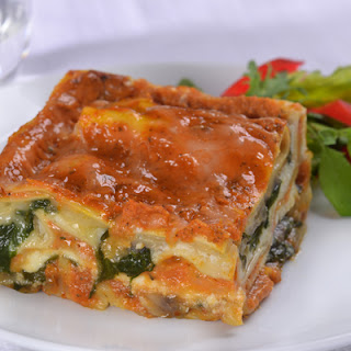 Pumpkin Lasagna with Mushrooms & Spinach