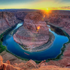 Sunset at Horseshoe Bend - Arizona, USA by Melvin Gilbert - Landscapes Mountains & Hills ( mountains, sunset, arizona, horseshoe bend, usa, united states )