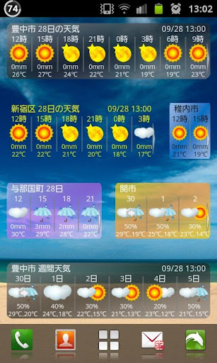 ピンポイント天気ウィジェット