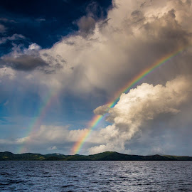 Stormy Rainbow by Jason Rose - Landscapes Weather ( thunderstorm, sailing, squall, fiji, vanua levu, rainbow )