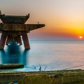 pier by Vincenzo Bernardi - Buildings & Architecture Decaying & Abandoned ( waterscape, sunset, pier, sea, seascape )
