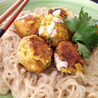 Asian Chickpea Balls with Satay Noodles