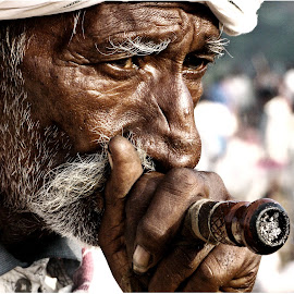 A Puff. by Jignesh Shah - People Portraits of Men ( potrait, street life, smoking, people )