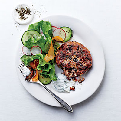 Black Bean Cakes with Ginger-Cilantro Cream