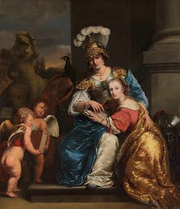 RIJKS: Ferdinand Bol: Margarita Trip as Minerva, Instructing her Sister Anna Maria Trip 1663