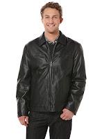 Perry Ellis Open Bottom Leather Coat