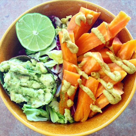 "Sweet Potato ""Fries"" (Oil/Salt Free) with Avocado Mash"