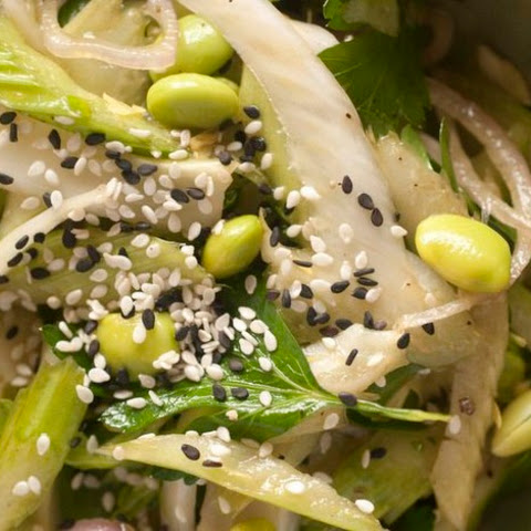 Asian Celery, Fennel, and Edamame Salad with Candied Lemon, from 'Flour, Too'