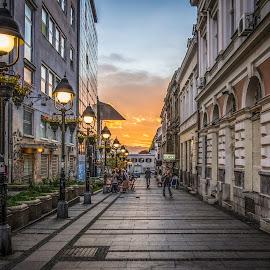 Belgrade, Serbia by IP Maesstro - City,  Street & Park  Street Scenes ( sky, belgrade, serbia, sunset, street,  )