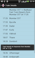 Screenshot of Mumbai Local Train Timetable