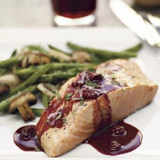 Planked Salmon with Pinot Noir-Berry Sauce