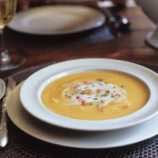 Carrot Soup with Bacon and Chestnut Cream