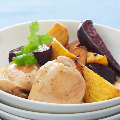 Orange Chicken Thighs with Beets and Sweets