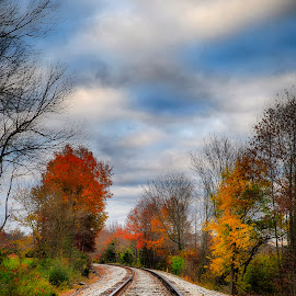 rws by Brian Hollars - Transportation Railway Tracks ( clouds, railroad, fall, rail, trees, tracks, leaves )
