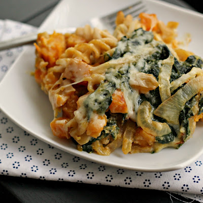 {Vegetarian} Bacon and Butternut Pasta with Kale and Caramelized Onions