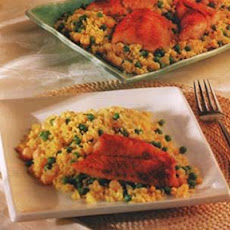 Red Snapper on Couscous with Peas