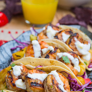 Jerk Shrimp Tacos with Pineapple Salsa, Slaw and Pina Colada Crema