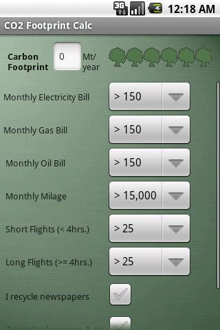 Green Footprint Calculator