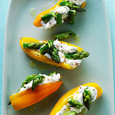 Mini Peppers Filled with Goat Cheese and Asparagus