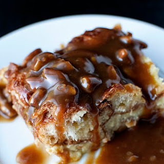 Croissant Bread Pudding with Pecan Toffee Sauce