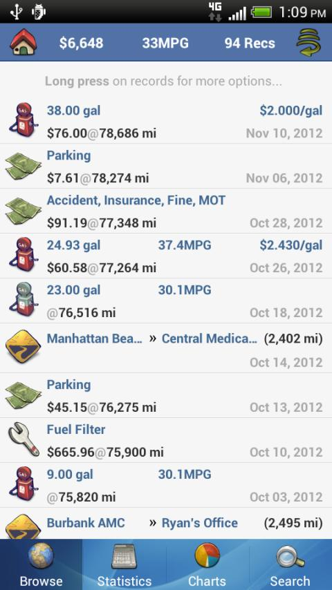 aCar - Car Management, Mileage Screenshot 1
