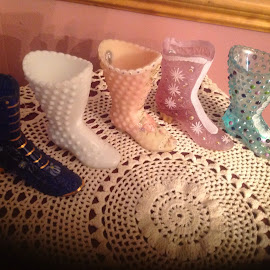 Antique glass boot collection by Terry Linton - Artistic Objects Glass