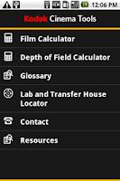 Screenshot of Kodak Cinema Tools