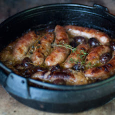 Baked Sausages With Olives And Onions
