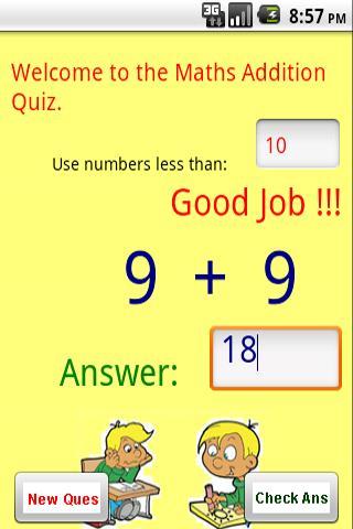 Maths - Addition Quiz