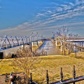 Cold Steel by Florida K - Buildings & Architecture Bridges & Suspended Structures ( clouds, wind, cold, hdr, bridge, river,  )