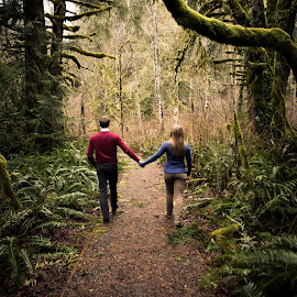 Forest by Sabreen Lakhani - People Couples ( path, trees, forest, couple, engagement )