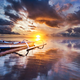 A Waiting The Miracle by Dewa Rastama - Landscapes Sunsets & Sunrises ( reflection, beach, morning, boat, sun, dewarastama, refleksi, karangbeach, sky, blue, d90, sunset, sunrise, nikon )