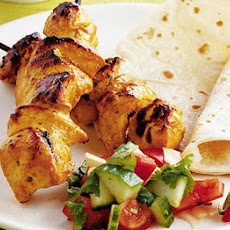 Chicken tikka kebabs with Indian salad